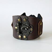 Оригінальний жіночий браслет-манжета з натуральної шкіри в стилі стімпанк