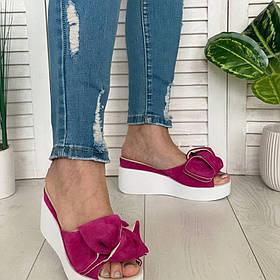 Шлепанцы ярко-розовые кожаные на платформе сабо на платформе 7см, кожа или замша размеры 36-41