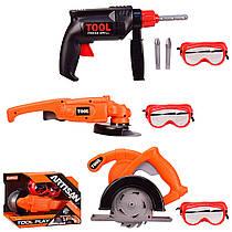 Дитячі інструменти 3 види - пила або дриль на батарейках і маска.