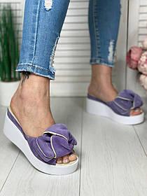 Замшевые фиолетовые шлепки на платформе сабо на платформе 7см, кожа или замша размеры 36-41