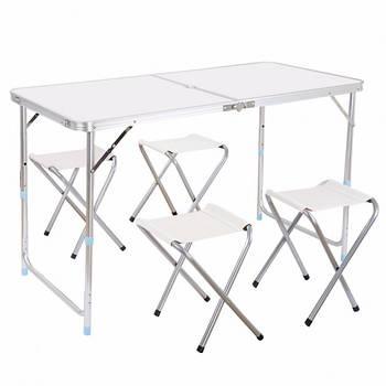 Стіл для пікніка посилений з 4 стільцями Білий