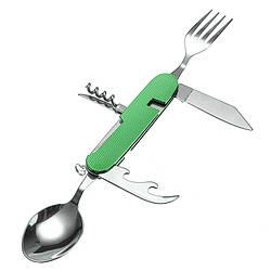 Туристический набор складной (мультитул) 6 в 1 (ложка, вилка, нож, открывалка, штопор) Green