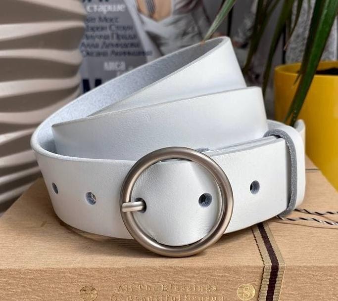 Белый женский кожаный ремень White 3,5 см ширина. С серебряной пряжкой. Натуральная кожа люкс качества