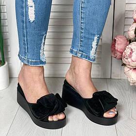 Замшевые черные босоножки на платформе сабо на платформе 7см, кожа или замша размеры 36-41