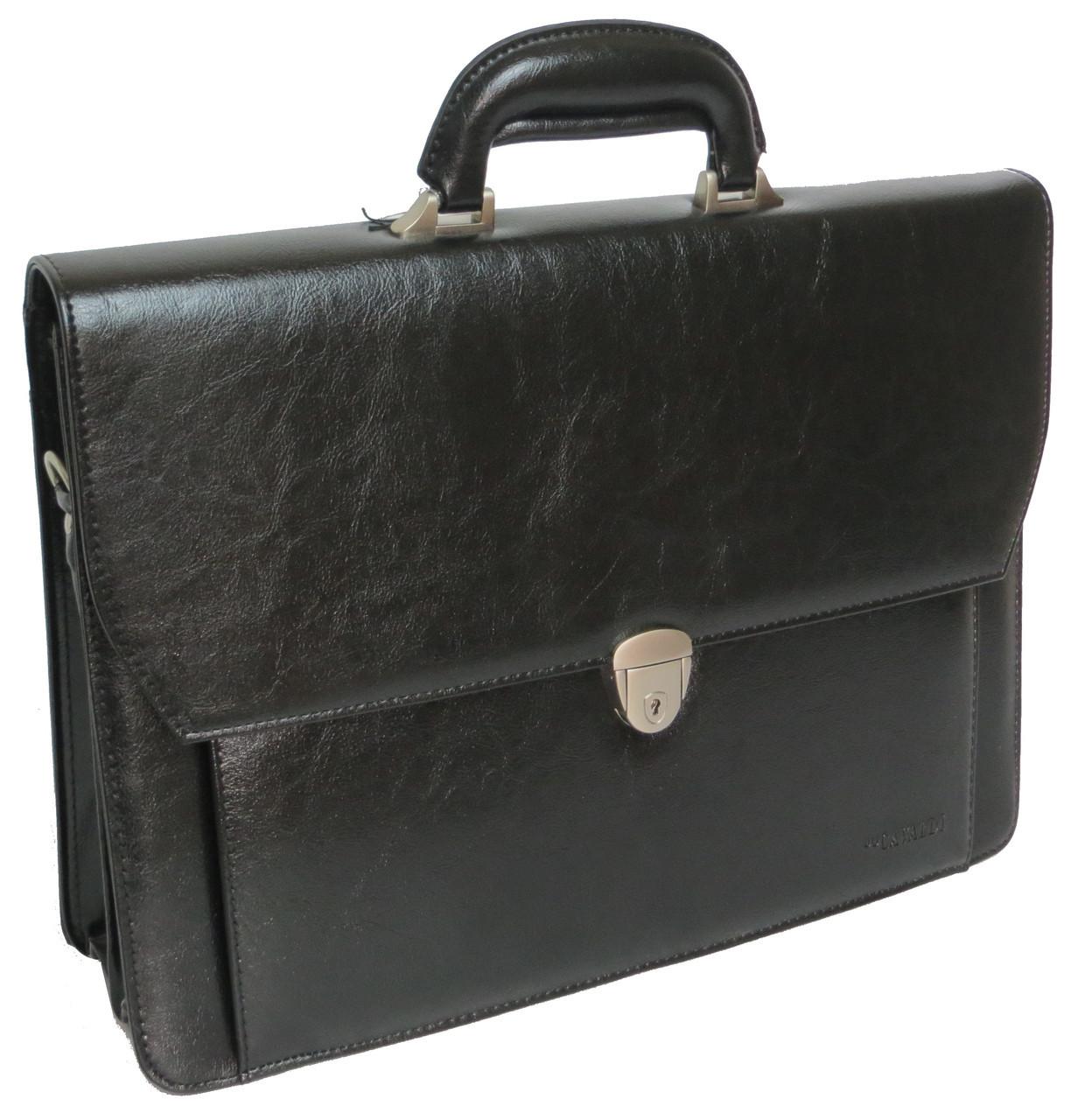 Мужской деловой портфель из эко кожи 4U Cavaldi черный