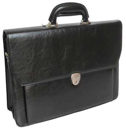 Мужской деловой портфель из эко кожи 4U Cavaldi черный, фото 2