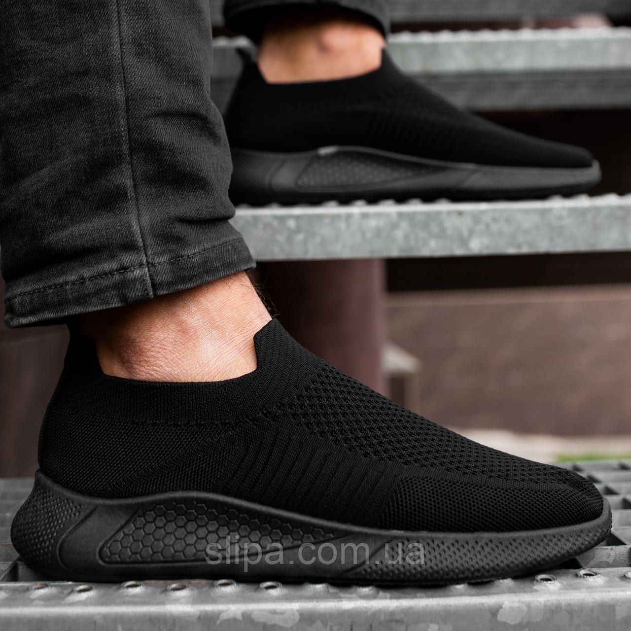 Чорні текстильні кросівки чоловічі на чорній підошві | текстиль + гума