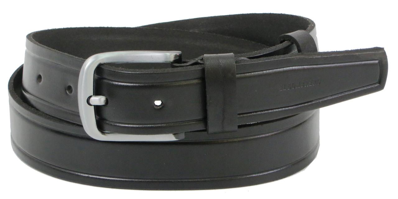 Мужской кожаный ремень под джинсы Skipper 1262-38 черный 3,8 см