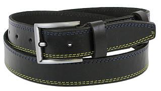Чоловічий шкіряний ремінь під джинси Skipper 1256-38 чорний 3,8 см