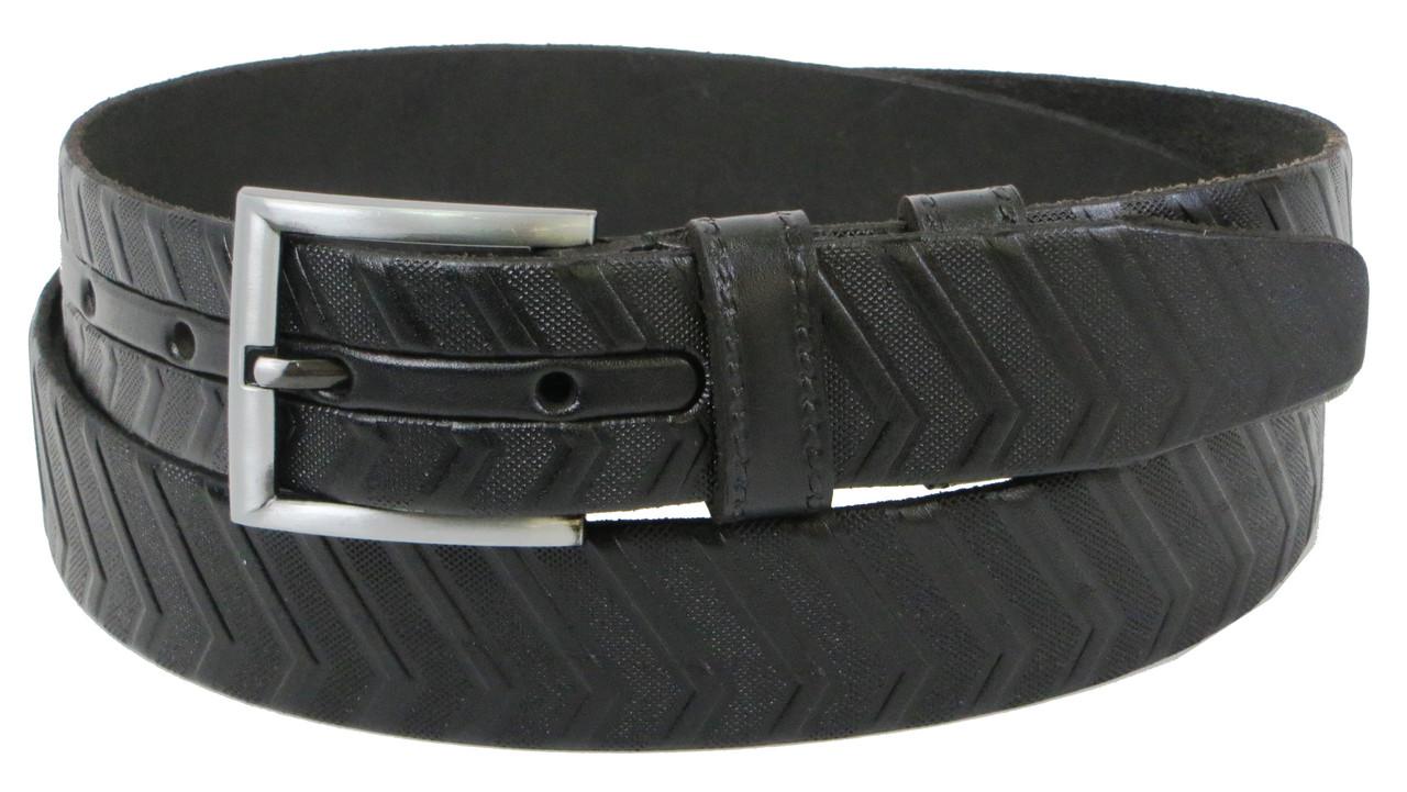 Чоловічий шкіряний ремінь під штани Skipper 1259-35 чорний 3,5 см