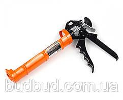Пистолет для герметика полузакрытый с трещоткой и металлической ручкой (26-006)  POLAX