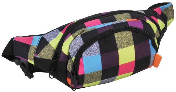 Поясна сумка в клітку Paso 15-589B різнокольорова