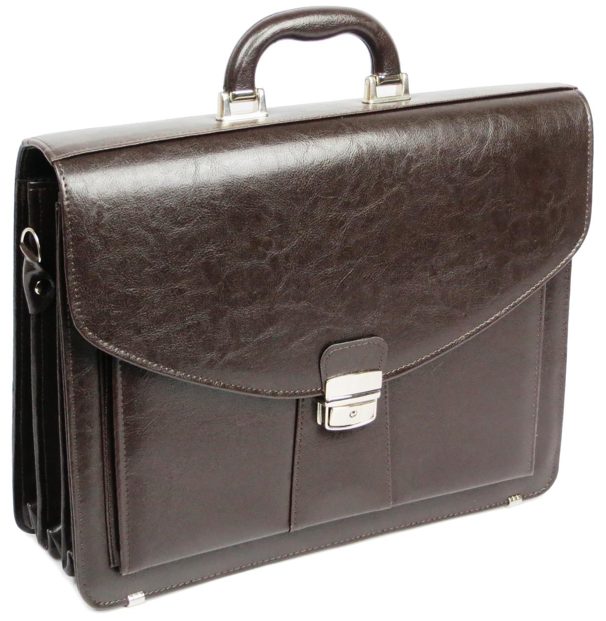 Мужской портфель из эко кожи Jurom 0-30-112 коричневый