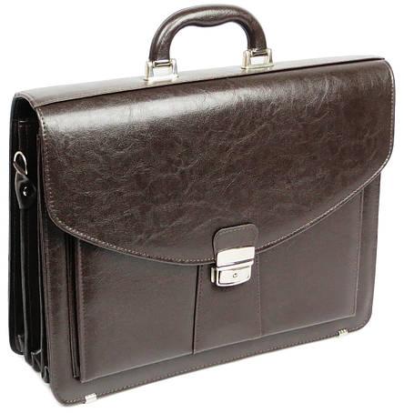 Мужской портфель из эко кожи Jurom 0-30-112 коричневый, фото 2