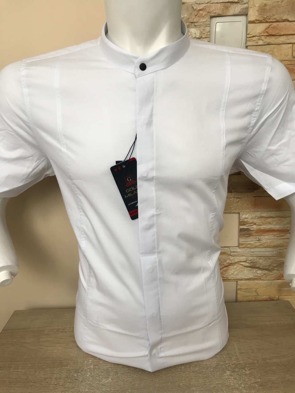 Біла сорочка з коротким рукавом/стійка Gold Milano