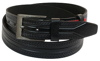 Чоловічий шкіряний ремінь під джинси Skipper 1004-38 чорний 3,8 см