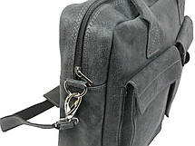 Сумка-портфель з натуральної шкіри A-art TSL17-1 сіра, фото 3