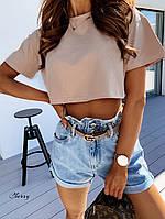 Женский летний топ футболка черный белый бежевый 42-46 с натуральной ткани вискоза стильный под шорты