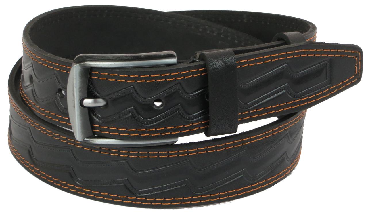 Мужской кожаный ремень под джинсы Skipper 1100-38 черный 3,8 см