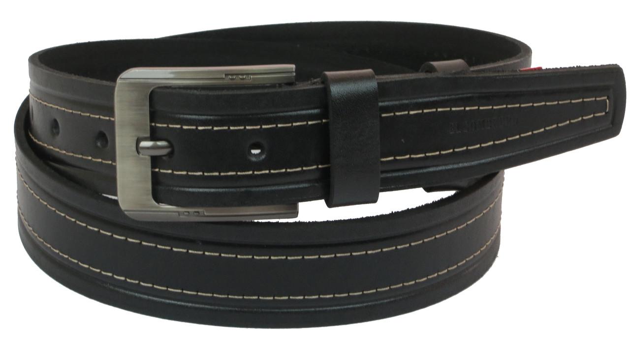 Мужской кожаный ремень под джинсы Skipper 1092-38 черный 3,8 см