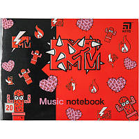 Тетрадь для нот A5 20 листов Kite MTV MTV20-405-2