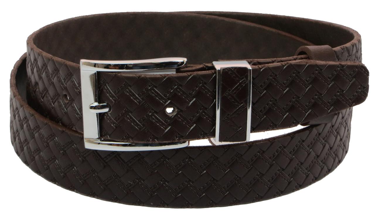 Мужской кожаный ремень под брюки Skipper 1138-35 коричневый 3,5 см
