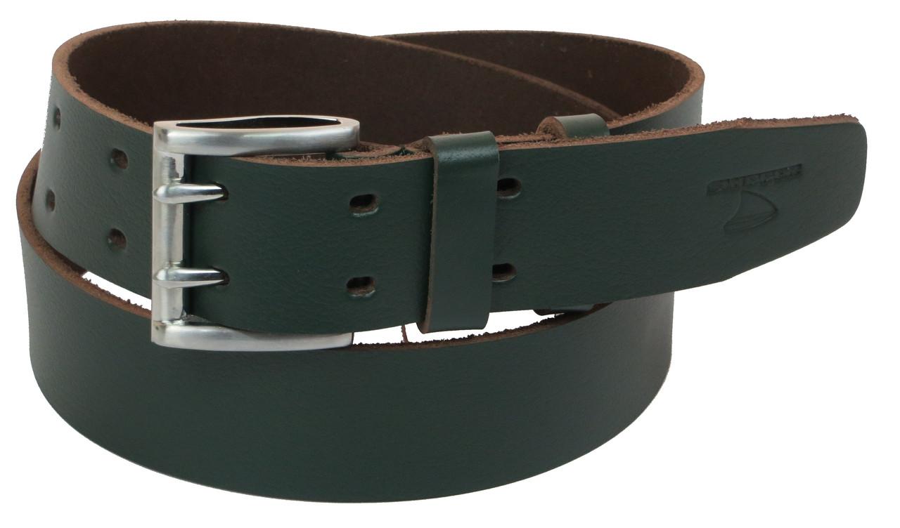 Мужской кожаный ремень под джинсы Skipper 1190-45 зеленый 4,5 см