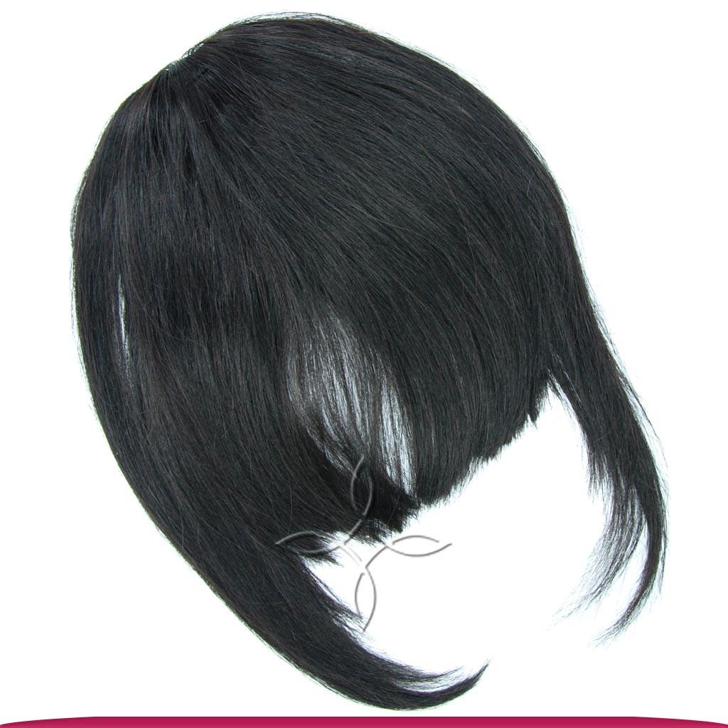 Накладная Челка из Натуральных Волос, Черный №01