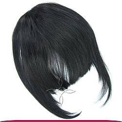 Накладна Чілка з Натурального Волосся, Чорний №01