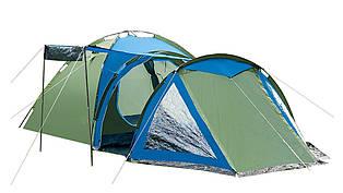 Большая палатка 4-х местная Presto Acamper SOLITER 4 PRO - 3500мм. H2О - 5,3 кг. с тамбуром Зеленый