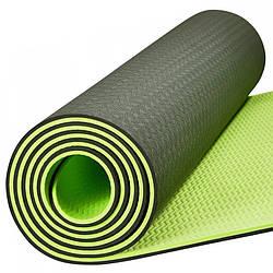 Коврик для фитнеса и йоги Meileer tpe-23 Зеленый 4816-14096, КОД: 1929809