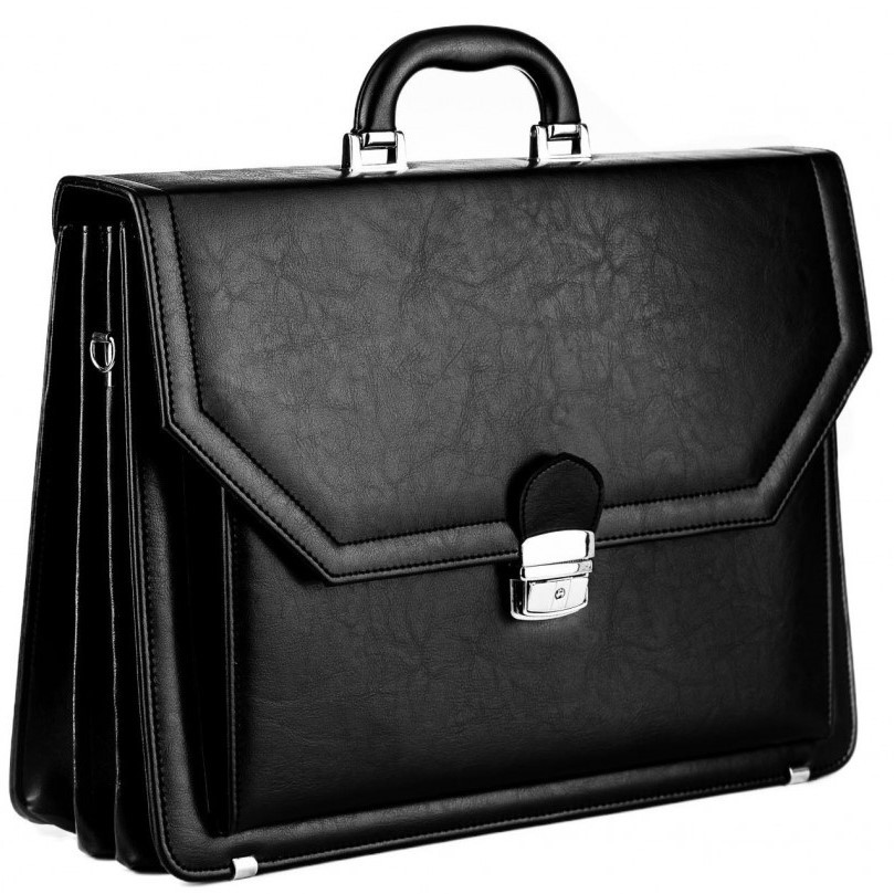 Великий чоловічий портфель з еко шкіри AMO SST01 чорний