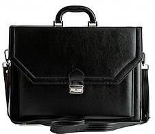 Великий чоловічий портфель з еко шкіри AMO SST01 чорний, фото 2