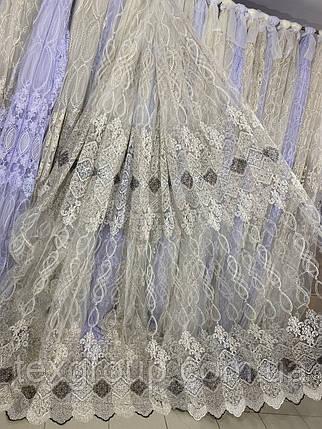 Качественный фатиновый тюль с кордовой люрексовой нитью 116368, фото 2