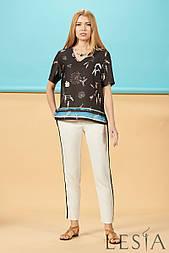 Повседневная блуза из шелковой ткани в этнический принт Lesya СЕБЕК 3
