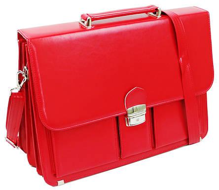 Женский портфель из эко кожи AMO Польша SST10 красный, фото 2