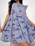 Женское летнее платье короткое принт буквы софт сарафан синий красный размер: 42-44, 46-48, 50-52, 54-56, фото 2
