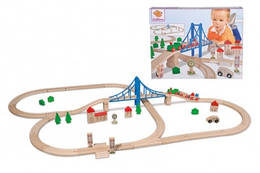 Детская железная дорога из дерева, 55 элементов, длина 5м, 3, Eichhorn