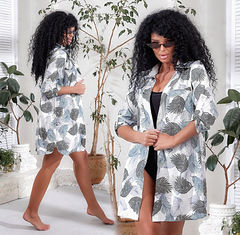 """Женская короткая пляжная туника до больших размеров 022 """"Софт Рубашка Пальма"""" в расцветках"""