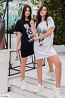 Легкое летнее женское платье-футболка свободное спортивное молодежное с принтом р-ры 42-46 арт. 5015