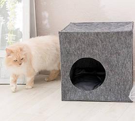 Домик для животных Digitalwool куб с подушкой Серый DW-92-05, КОД: 1103746
