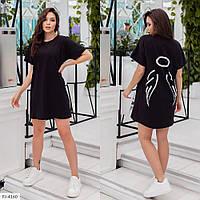 Модное молодежное короткое платье-футболка в спортивном стиле на каждый день р-ры 42-46 арт. 5000