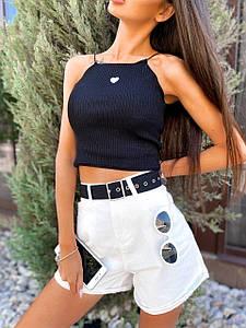 Стильные джинсовые шорты белого цвета с ремешком 42-46 р