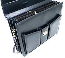 Великий діловий портфель з еко шкіри AMO SST03 синій, фото 3