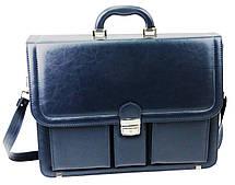 Великий діловий портфель з еко шкіри AMO SST03 синій, фото 2