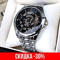Мужские серебряные механические наручные часы Emporio Armani / Армани
