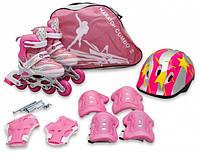 Детские роликовые коньки Maraton COMBO 28-33 розовый с комплектом защиты