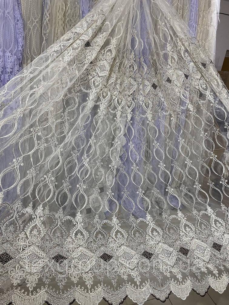 Качественный фатиновый тюль с кордовой люрексовой нитью 116384
