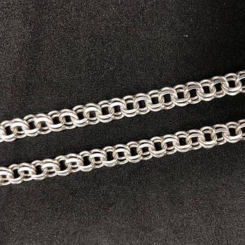 Серебряная цепочка Б/У 925 пробы, плетение Бисмарк, длина 48 см, вес 27,84 г. Серебро из ломбарда