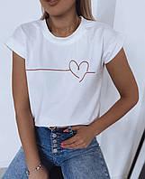 Футболка женская сердце размер 42-46.  Стильная, модная футболка с сердцем белая, черная.